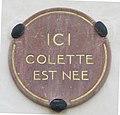 Plaque Ici Colette est née à Saint-Sauveur-en-Puisaye.JPG