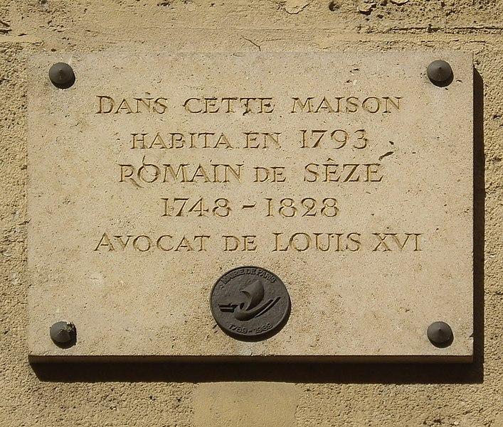 Fichier:Plaque Romain de Sèze, 20 rue des Quatre-Fils, Paris 3.jpg