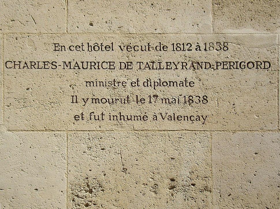 Plaque Talleyrand, Hôtel de Saint-Florentin, Paris 1