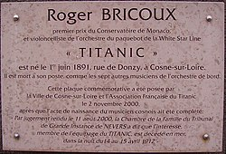 Photo of Roger Bricoux white plaque