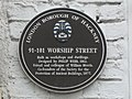 Plaque re 91-101 Worship Street, EC2 - geograph.org.uk - 1097857.jpg