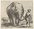 Plate 16- an elephant in center, his mahout standing to the right wearing an Oriental costume, another elephant to left in background, from 'Diversi capricci' MET DP833181.jpg