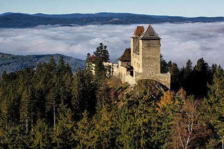Autumn view of the Kašperk Castle, Bohemian Forest Foothills, southwestern Bohemia.