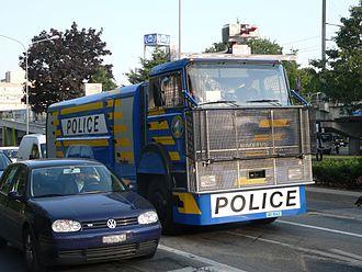 Law enforcement in Switzerland - Water cannon in Lausanne.