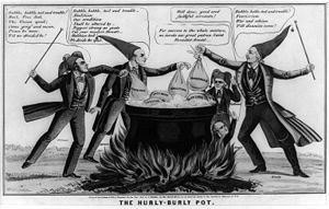 Free Soil Party - In this 1850 political cartoon, the artist attacks abolitionist, Free Soil, and other sectionalist interests of 1850 as dangers to the Union.