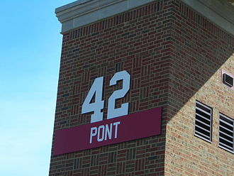 John Pont - Pont's number 42 displayed at Yager Stadium. Pont is one of four football players to have his number retired by Miami University.