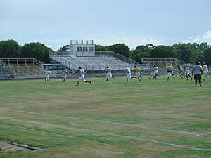 Saint John Paul II Academy - PJPII football field and stadium during practice.