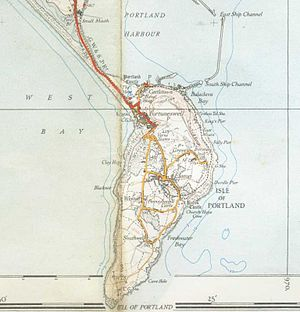Isle of Portland - A map of the Isle of Portland from 1937, showing the railway to Easton