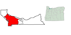Location in Multnomah County and the state of Oregon