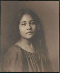 Portrait of Hawaiian girl, titled 'Girlhood' (front view) 1909.jpg