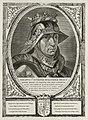 Portret van Filips de Goede, hertog van Bourgondië, met een harnas, een helm en een kroon. Om zijn hals een keten met het ordeteken van de orde van het gulden vlies. De omlijsting is versier, NL-HlmNHA 1477 53012923.JPG