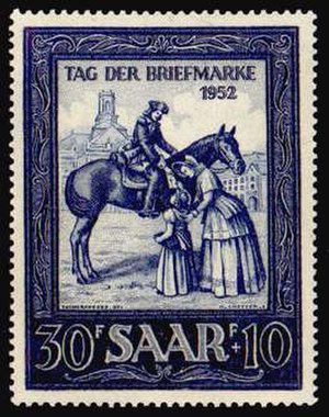 Post riders - Post rider shown on postage stamp of Saarland