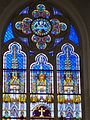 Pray for us on stained glass, Saint Elisabeth Church, 2016 Budapest.jpg