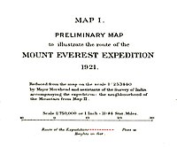 Preliminary map of Mount Everest Expedition, 1921. Map I (cropped).jpg