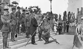 Flag presentation to battalion in 1915