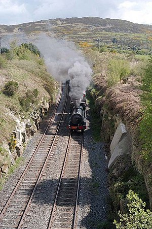 Railway Preservation Society of Ireland - GSWR steam locomotive No.186 on former GNR metals, near Newry.