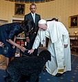 President Barack Obama and First Lady Michelle Obama introduces Pope Francis to their family pets Bo and Sonny in the Blue Room.jpg