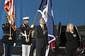 President Barack Obama and Secretary of State Hillary Clinton pause as the national anthem is played during the dignified transfer ceremony for the U.S. Ambassador to Libya J. Christopher Stevens, Foreign Servi 120914-D-BW835-248.jpg