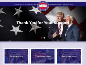 United States presidential transition - Trump presidential transition website, launched on the evening of November 9, 2016.