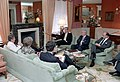 President Ronald Reagan during a trip to New York City for a briefing for a bilateral meeting with Foreign Minister Eduard Shevardnadze of USSR with staff members at the Waldorf Astoria Hotel.jpg