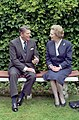 President Ronald Reagan in a Bilateral Meeting with Prime Minister Margaret Thatcher of United Kingdom at The Hotel Cipriani in Venice Italy.jpg