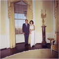 President and First Lady, Portrait Photograph. President Kennedy, Mrs. Kennedy. White House, Yellow Oval Room. - NARA - 194262.tif