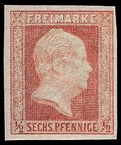 Friedrich Wilhelm IV. auf preußischer Briefmarke (1850) (Quelle: Wikimedia)