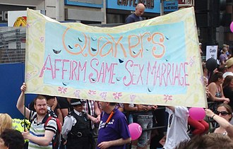 Homosexuality and Quakerism - Quakers supporting gay marriage at Pride London 2011.