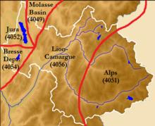 Carte des provinces géologiques européennes dans le département de la Savoie