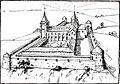 Réprésentation de la Collégiale d'après un document du XVIe siècle par Albert Delaunois (1895-1936).jpg