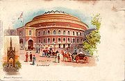 Postcard of the Royal Albert Hall (circa 1903) with an inset of the Albert Memorial