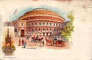 John Foulds - A postcard of the Royal Albert Hall (c.1903) (with an inset of the Albert Memorial), where Foulds' World Requiem (1919–1921) was performed in 1923 and 1926; in 1924 and 1925 it was performed at the Queen's Hall.