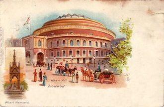 Royal Albert Hall - Postcard of the Hall (circa 1903) with an inset of the Albert Memorial