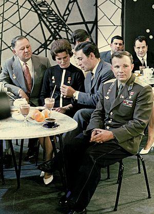 Vyacheslav Tikhonov - Vyacheslav Tikhonov (front row, seated between Yuri Gagarin and Valentina Tereshkova) appears on a Soviet New Year TV show in 1963.