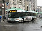 A Pawtucket bound RIPTA bus on the #51 line loads at Kennedy Plaza.