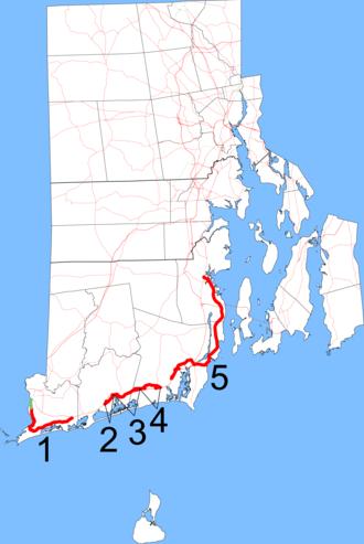 Rhode Island Route 1A - Image: RI 1A map