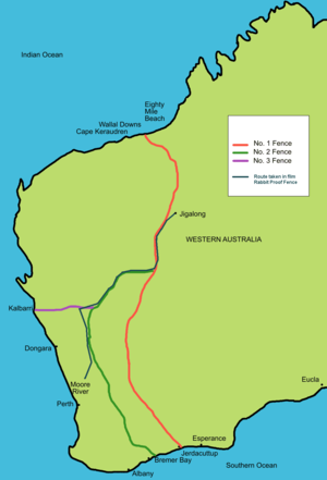 Rabbit-Proof Fence (film) - Map of the rabbit-proof fence showing the trip from Moore River to Jigalong.
