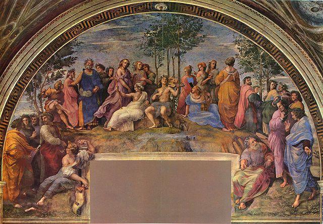 Рафаэль Санти. Станца делла Сеньятура в Ватикане, 1510—1511. Четвёртый слева — Квинт Энний.