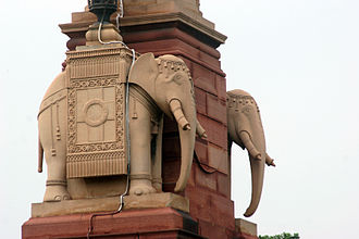 Rashtrapati Bhavan - Elephant statues on the outer wall