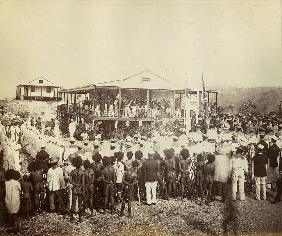 Reading the proclamation of annexation, Mr Lawe's house, Port Moresby, New Guinea, November 1884 - photographer John Paine or Augustine E. Dyer (5708761723)
