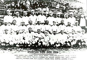 Majestic Park (baseball) - World Series Champion Red Sox 1916, Babe Ruth in front row, middle