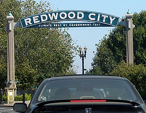Redwood City, California - The western arch with the city slogan below
