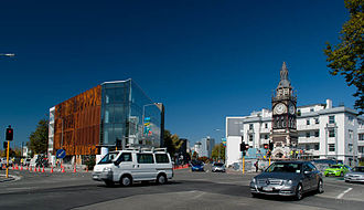 Victoria Street, Christchurch - View south-east along Victoria Street from Salisbury Street, with the Victoria Clock Tower in the foreground