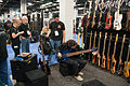 Regenerate blue 6 string bass was hard to put down - 2014 NAMM Show.jpg