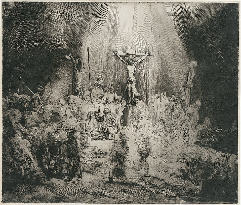 """Rembrandt Harmensz. van Rijn - Christ Crucified Between the Two Thieves (""""The Three Crosses"""") - Google Art Project"""