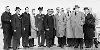 James C. Corman - Representative Corman and other members of the House Committee on Science and Astronautics visit the Marshall Space Flight Center on March 9, 1962 to gather first-hand information of the nation's space exploration program.