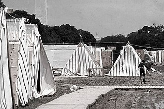 A shantytown established in Washington, D. C. to protest economic conditions as a part of the Poor People's Campaign Resurrection City Washington D.C. 1968.jpg