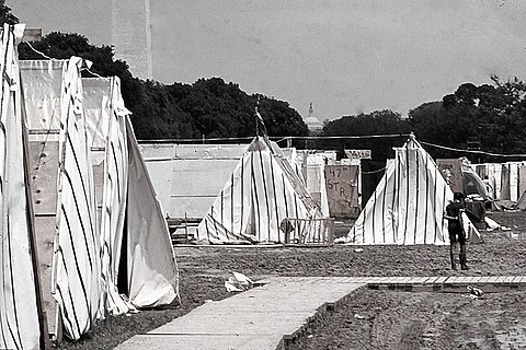 A 3,000-person shantytown called Resurrection City was established in 1968 on the National Mall as part of the Poor People's Campaign. Resurrection City Washington D.C. 1968.jpg