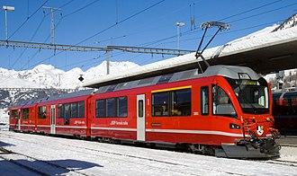 Pontresina (Rhaetian Railway station) - ABe 8/12 Allegra at Pontresina