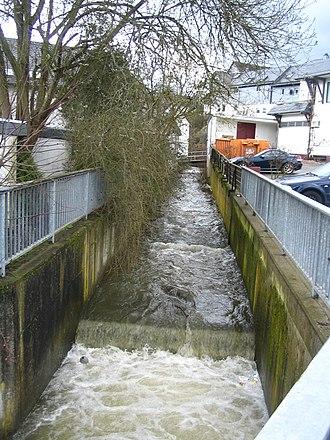 Rhaunen - The Rhaunelbach runs through a concrete channel within the village